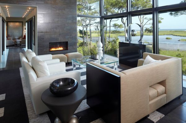 Linear fireplace enclosed in glass ideal for a contemporary setting