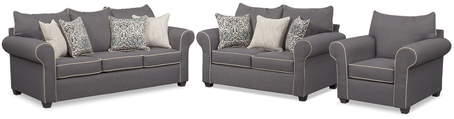 Carla Sofa, Loveseat, and Chair Set - Gray