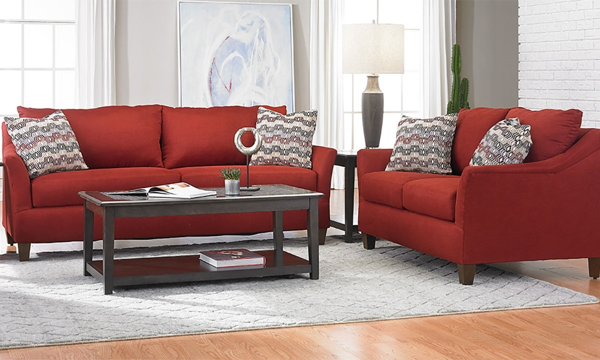 Jericho Cardinal Red 2-Piece Flare Arm Sofa & Loveseat Set with Throw  Pillows in