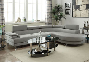 La foto se está cargando Grey-Faux-Leather-Curved-Sectional-Sofa-Couch -Round-