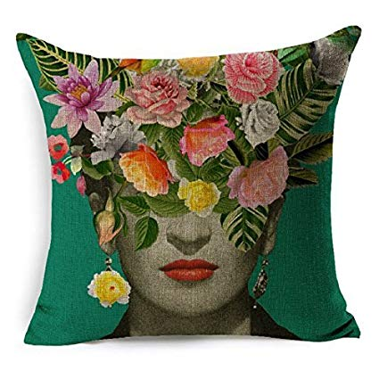 HLPPC Cushion Cover Beautiful Women With Colorful Flowers Pillowcase 17 x  17 Inches Woven Pillow Covers