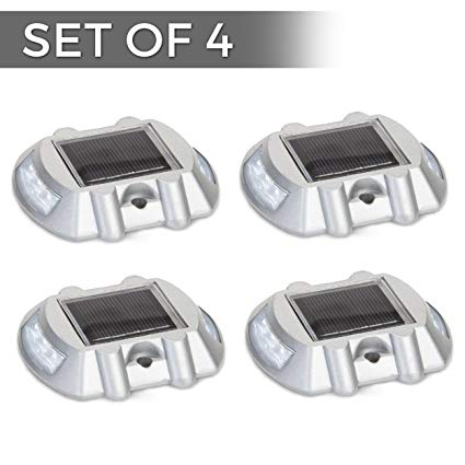 Solar Powered LED Marker Lights- Set of 4- Decorative Aluminum Lamps