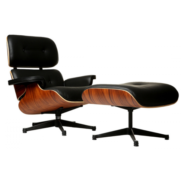 Lounge Chair and Ottoman, Black Powder Coating