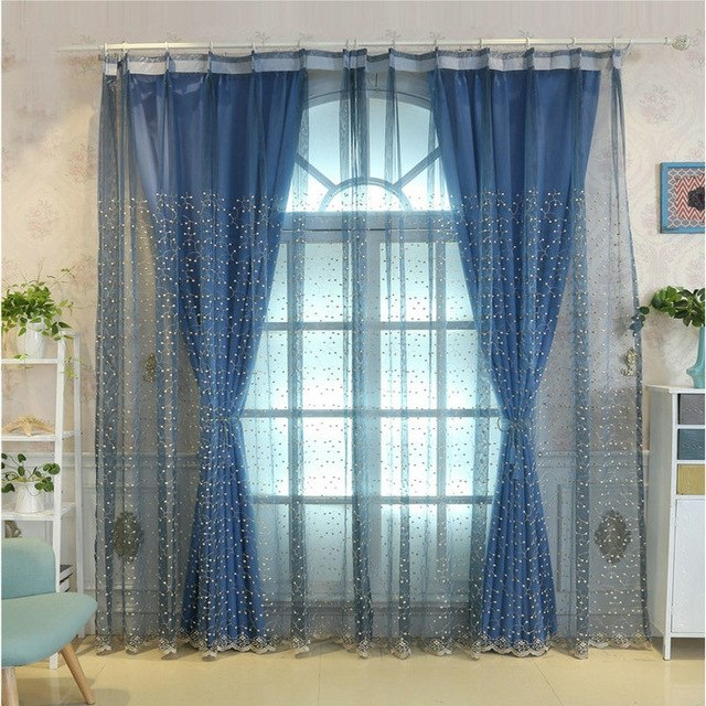 Window Treatments Solid Color Designer Curtain Tulle Screening Embroidery  Luxury Flowers Lace Curtains For Living Room Bedroom