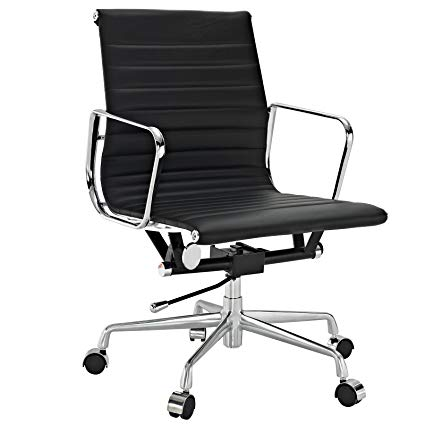 Amazon.com: Ribbed Mid Back Office Chair in Black Genuine Leather