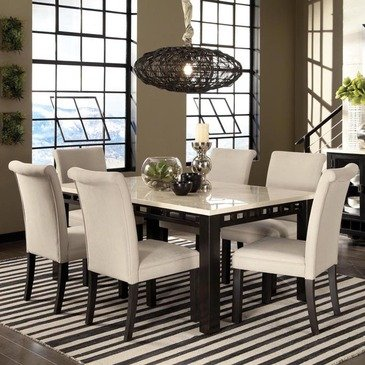 Standard Furniture Gateway White 7 Piece Dining Room Set w/ Parsons Chairs  in Dark Chicory