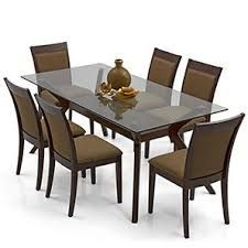 Image result for dining table designs in wood and glass indian 6 Seater Dining  Table,