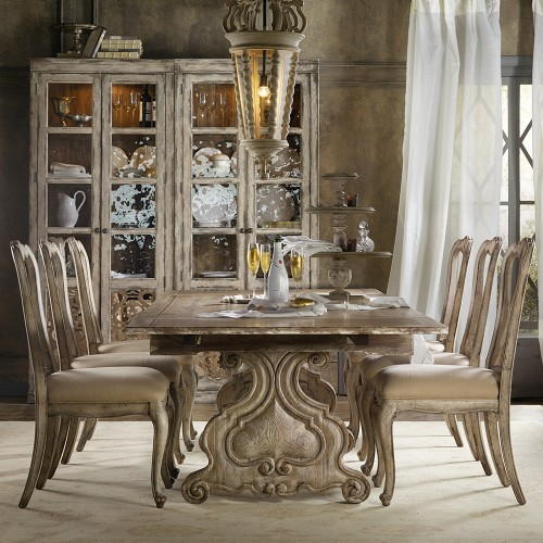 Chatelet Wood Refectory Rectangular Trestle Dining Table in Paris Vintage
