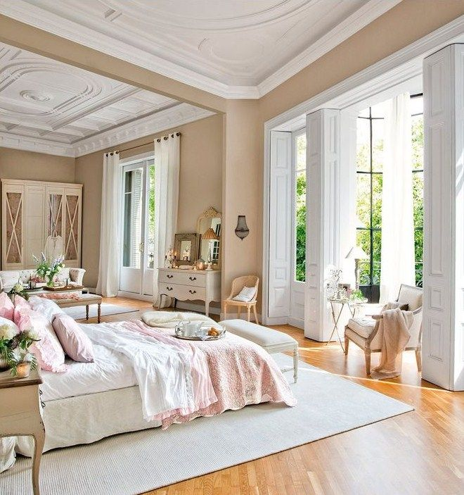 French Country Bedroom Design Airy Bedroom, High Ceiling Bedroom, Pink  Master Bedroom, Pretty