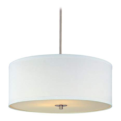Modern Drum Pendant Light with White Shade in Satin Nickel Finish