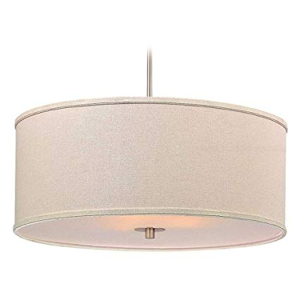 Modern Drum Pendant Light with Cream Linen Shade - Ceiling Pendant