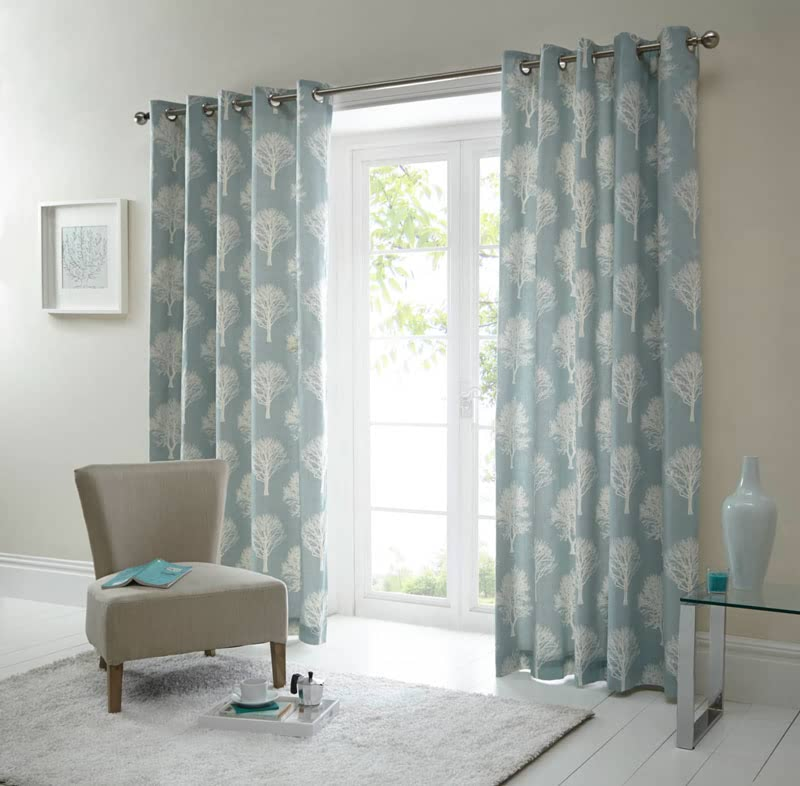 Woodland Trees Duck Egg Ready Made Curtains