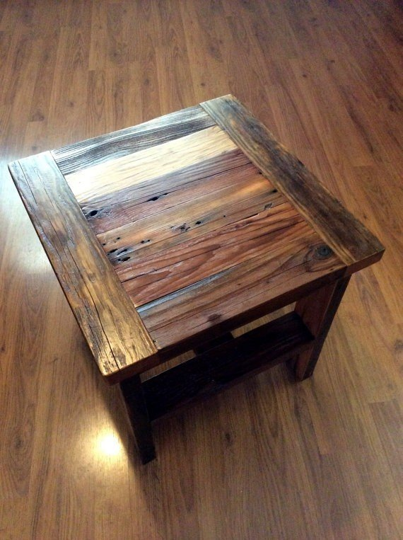 Reclaimed wood end table or small square