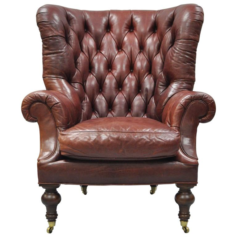 Oversized Lillian August Brown Tufted Leather English Chesterfield Wing  Chair For Sale at 1stdibs