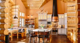 Evergreen Log Home Kitchen Renovation rustic-kitchen