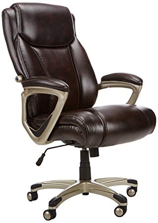 Traveller Location: AmazonBasics Big & Tall Executive Chair - Adjustable with  Armrest, 350-Pound Capacity - Brown with Pewter Finish: Kitchen & Dining