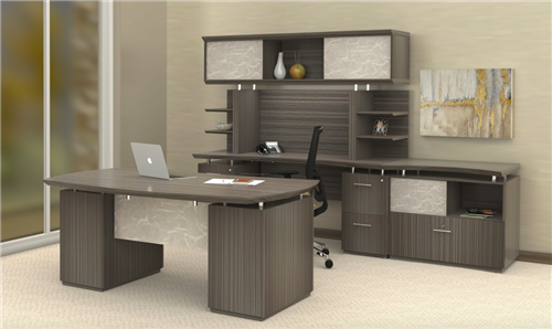Custom Mayline Sterling Textured Driftwood Executive Office Furniture