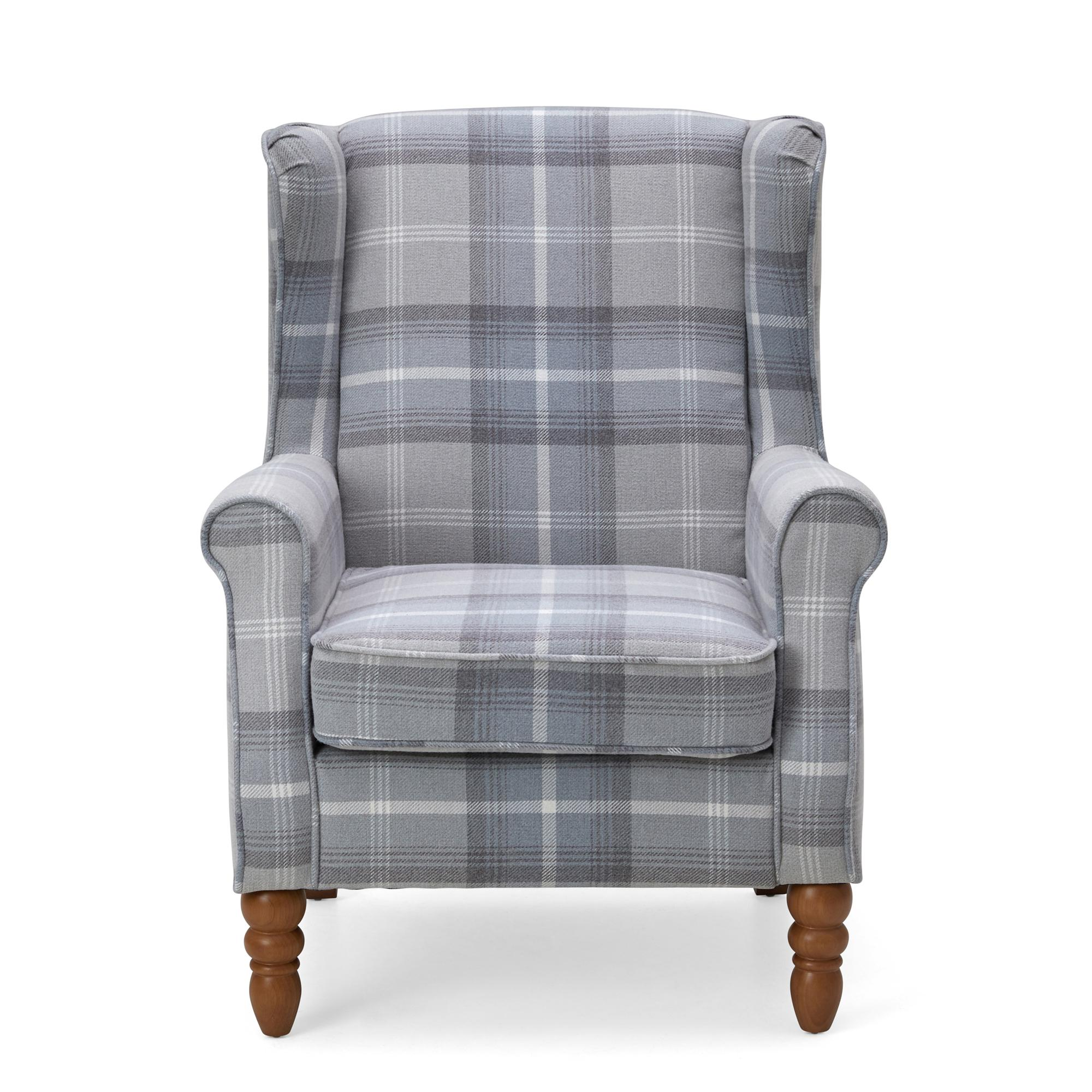 Oswald Check Wingback Armchair - Grey