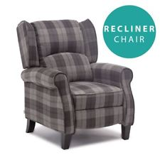item 1 EATON WING BACK FIRESIDE CHECK FABRIC RECLINER ARMCHAIR SOFA LOUNGE  CINEMO CHAIR -EATON WING BACK FIRESIDE CHECK FABRIC RECLINER ARMCHAIR SOFA  LOUNGE