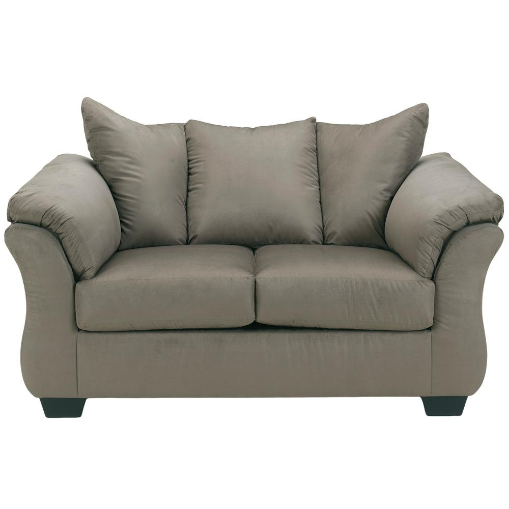 Flash Furniture Signature Design by Ashley Darcy Cobblestone Fabric Loveseat-1109LSCOB  - The Home Depot