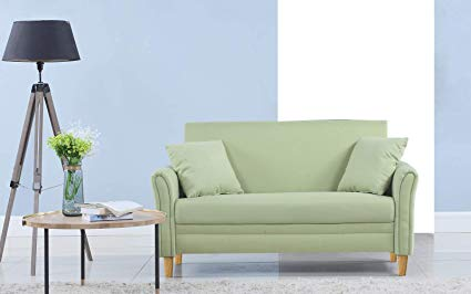 Divano Roma Furniture Modern 2 Tone Small Space Linen Fabric Loveseat  (Green)