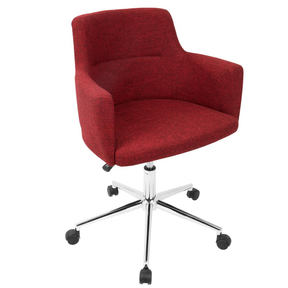 Lumisource Andrew Contemporary Adjustable Red Fabric Office Chair