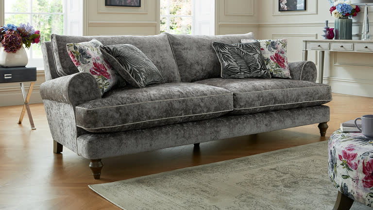 Sofology Maya grey fabric sofa with floral print cushions