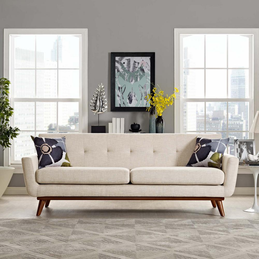 Engage Beige Upholstered Fabric Sofa
