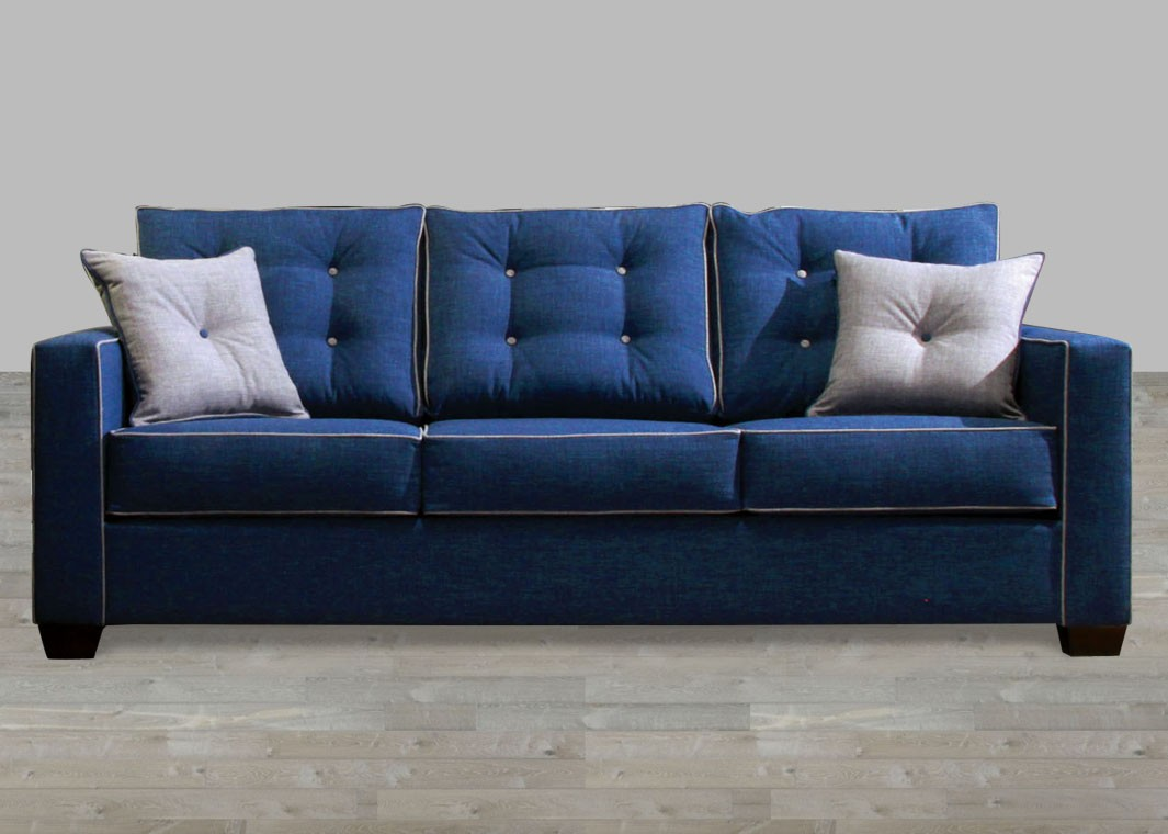 Contemporary Style Blue Fabric Sofa with Pillow Rolled Arm