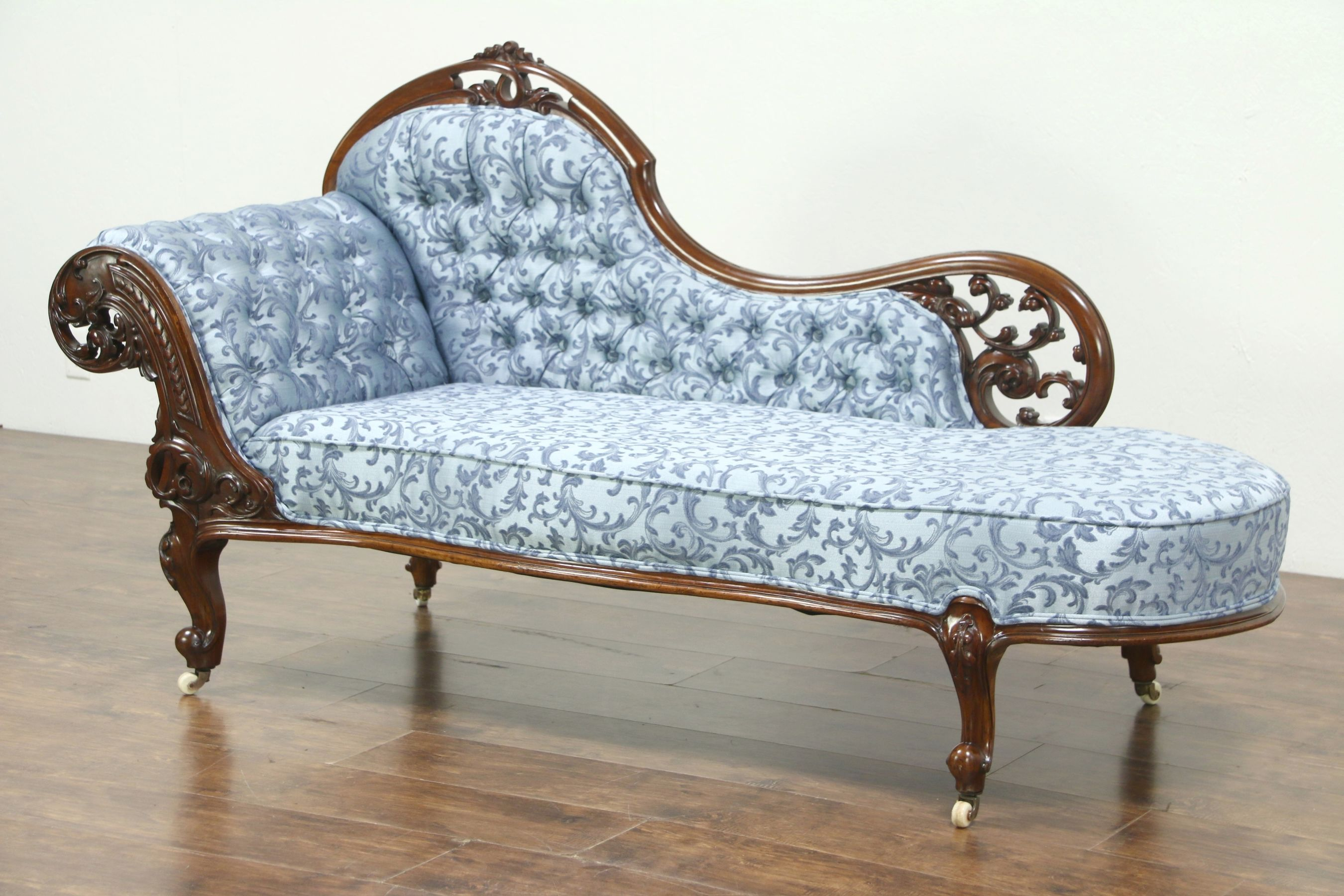 SOLD - Carved Mahogany Antique Recamier, Chaise or Fainting Couch, England  #28747 - Harp Gallery
