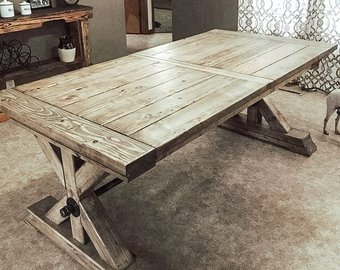 Farmhouse Extension Trestle Table, Farmhouse Table, Rustic Table, Dining  TableSHIPPING NOT INCLUDED: Please contact us for quote.