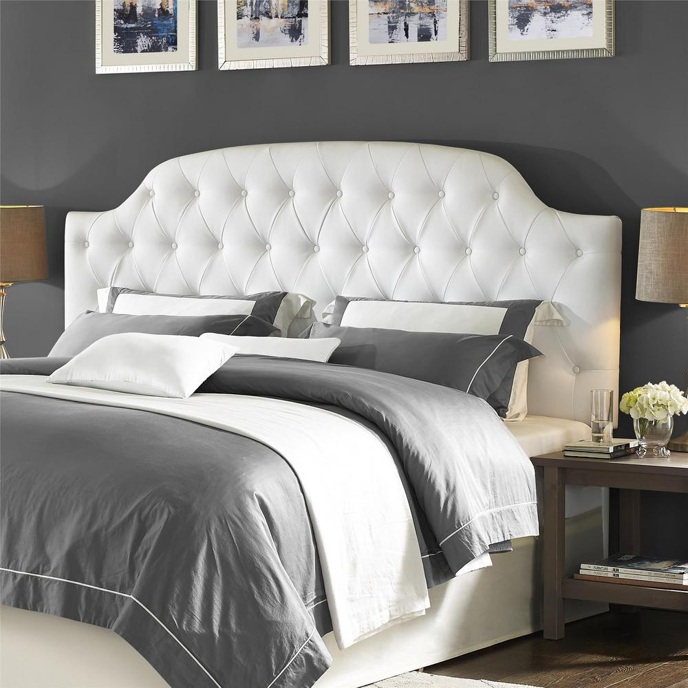 Dorel Living Lyric White King Button Tufted Faux Leather Headboard-FA6126K  - The Home Depot