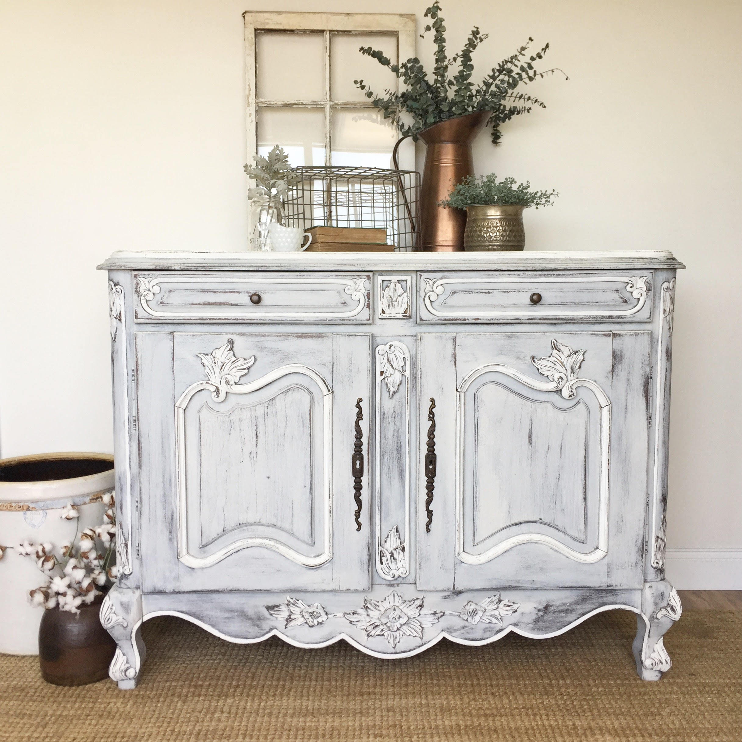 White French Country Farmhouse Sideboard Buffet – Antique Painted Furniture