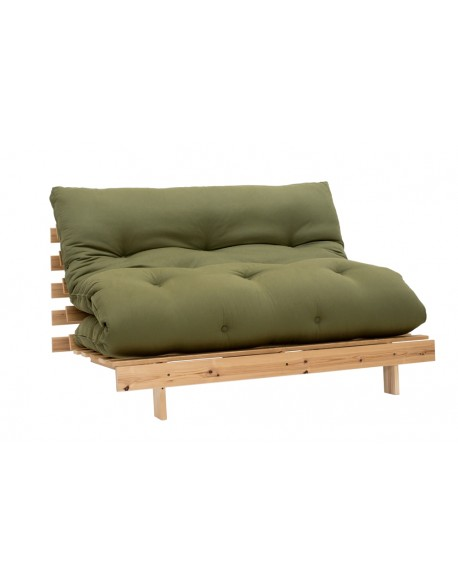 Roots Futon Sofa Bed in Olive Drill