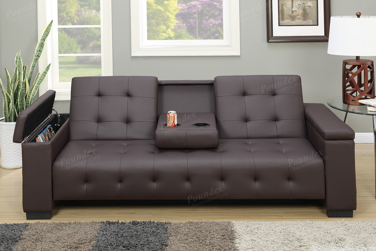 F7202 Silia collection espresso faux leather folding futon sofa bed with  storage in the arms