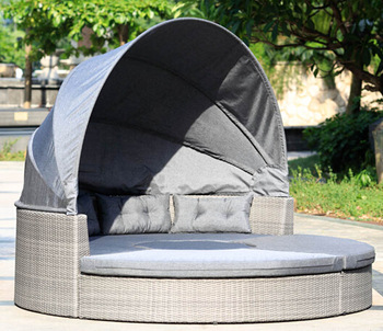 Round garden lounge set PE wicker poolside double sun lounger
