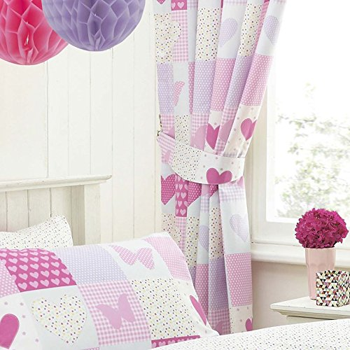 Textile Warehouse Patchwork Pink Butterfly Hearts Girls Kids Childrens  Pencil Pleat Lined Curtains: Traveller Location.uk: Kitchen & Home