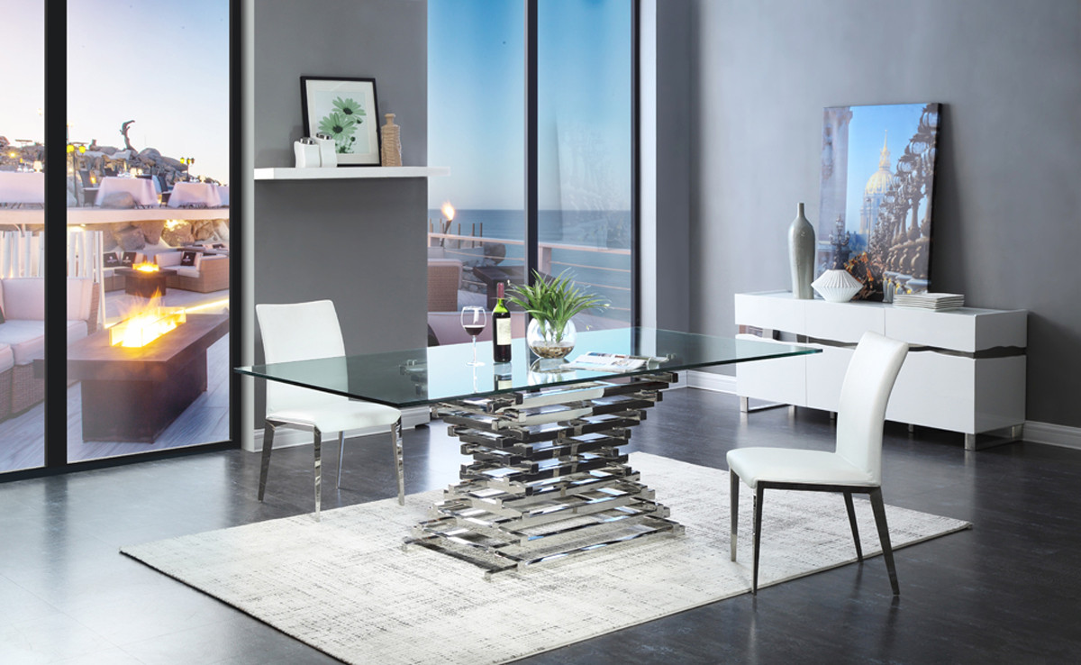 Your bookmark products. Modrest Crawford Modern Rectangular Glass Dining  Table