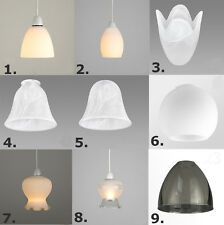 Set of 3 Easy Fit Glass Ceiling Shades Frosted Acid Etched Dome Scallop Lamp
