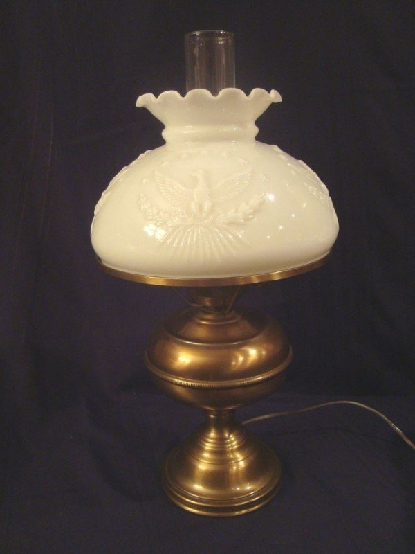 Vintage metal lamp with eagle milk glass lamp shade gwtw