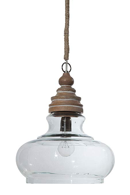 Amazon.com: Creative Co-op Glass & Mango Wood Ceiling Pendant Light