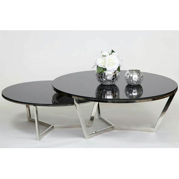 Import modern round glass coffee tables teapoy table price