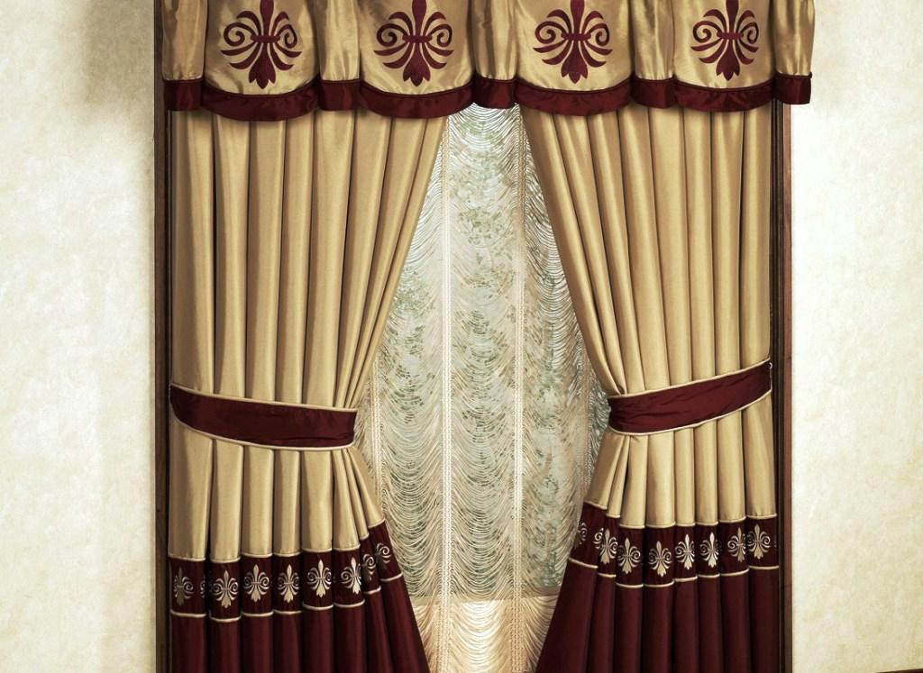 Elegant Red Gold Curtains With Swag Valance For Living Room Decor Ideas