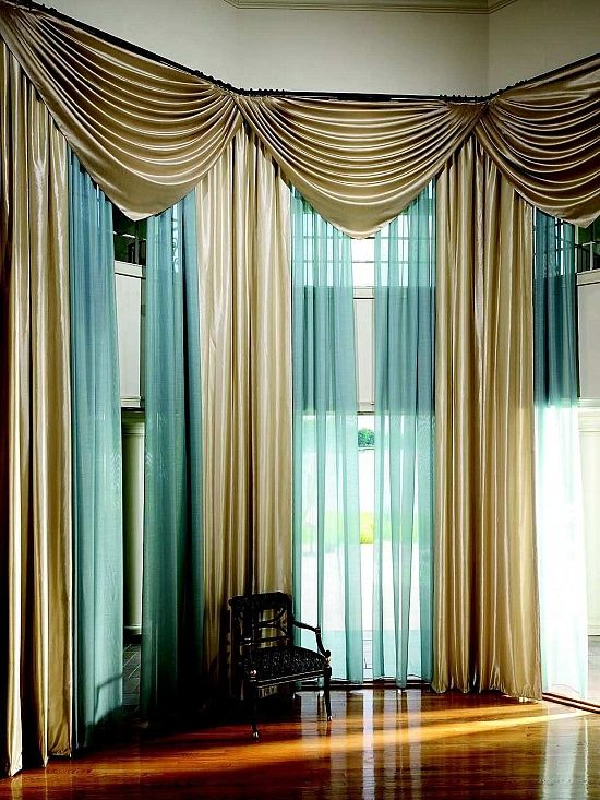 Modern Gold and Sheer Blue Drapes for Living Room. Sheer curtain ideas