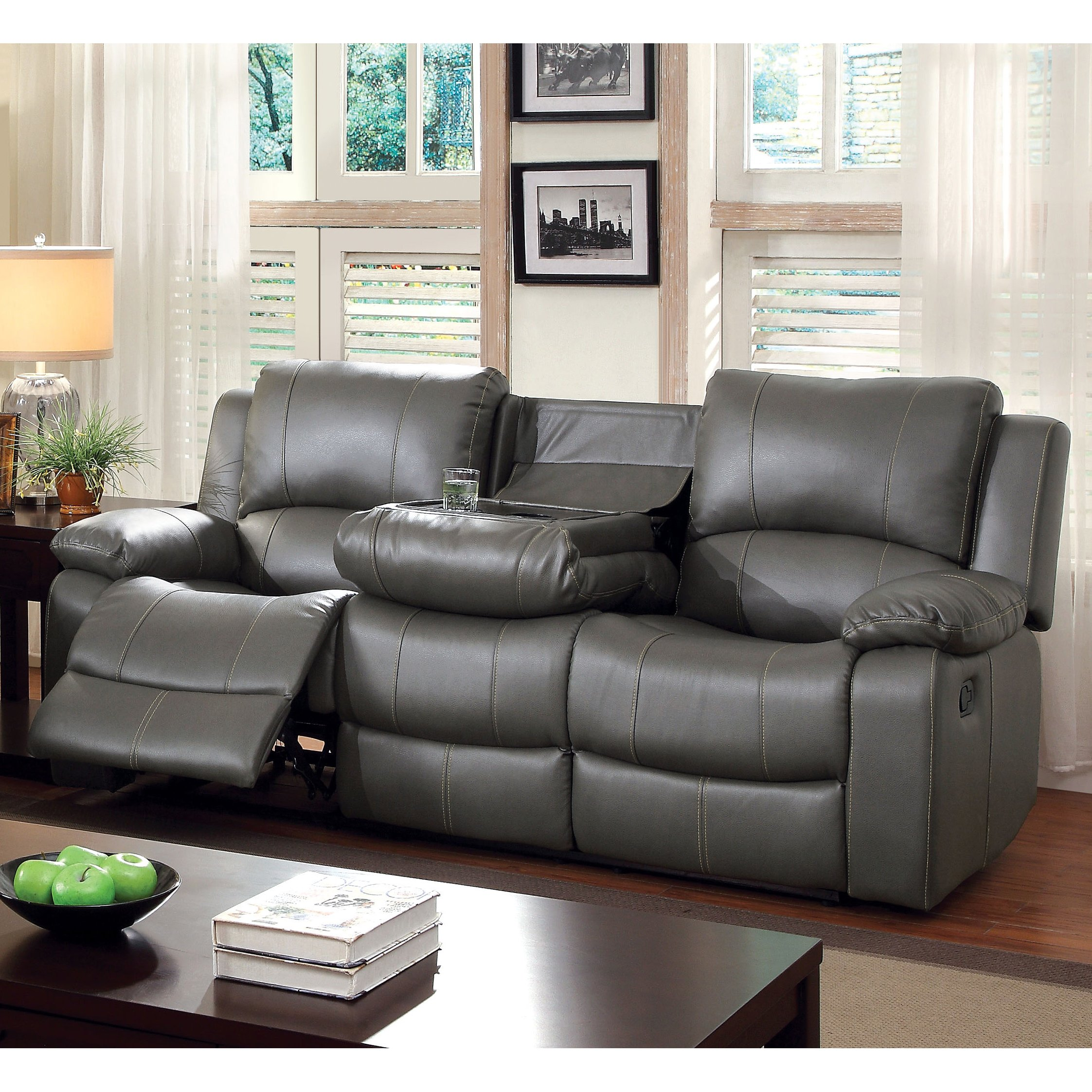 Shop Furniture of America Rembren Grey Faux Leather Reclining Sofa - Free  Shipping Today - Overstock - 9759548