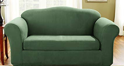 Surefit Stretch Suede - Loveseat Slipcover - Dark Green (SF36473)