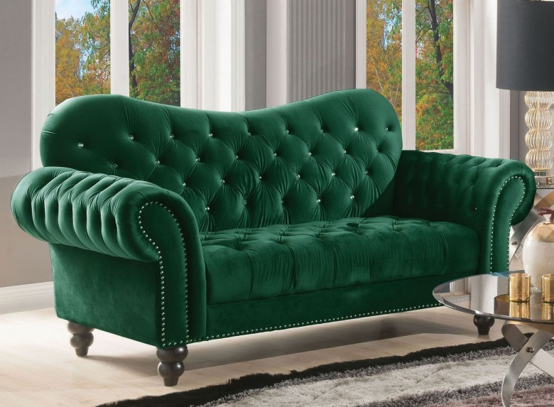 Iberis Green Velvet Loveseat