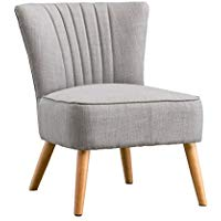 AYLA LINEN RETRO OCCASIONAL BEDROOM LOUNGE FABRIC ACCENT CHAIR (Grey)