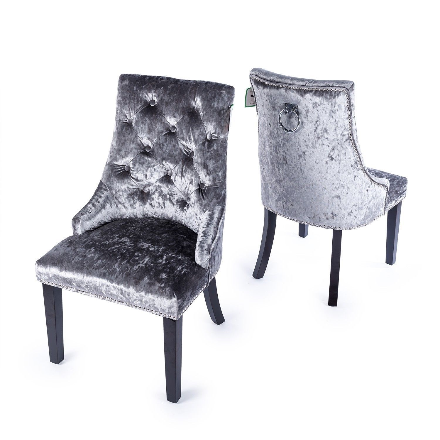 CHARCOAL DARK GREY CRUSHED VELVET STUDDED DINING OCCASIONAL BEDROOM CHAIR  RINGPULL TCDH-VL-K1-03