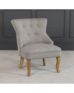 Vogue Natural Light Grey Fabric Upholstered Bedroom Chair with Oak Leg